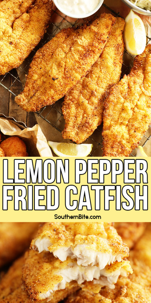 Lemon Pepper Fried Catfish collage for pinterest