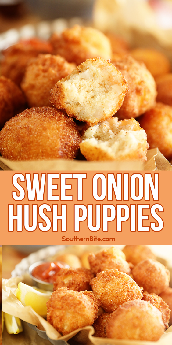 Sweet Onion Hush Puppies - collage image for Pinterest