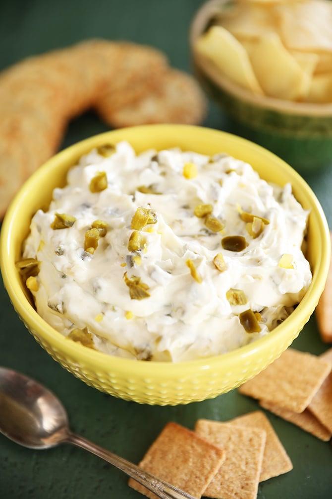 Bowl of 3 Ingredient Candied Jalapeño Dip
