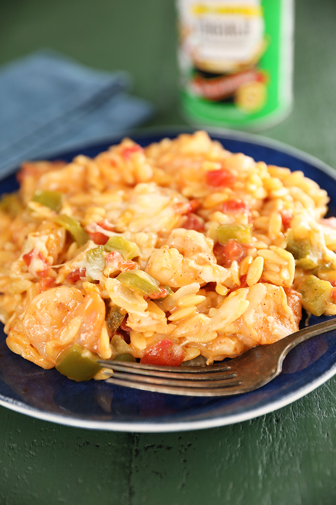 Cheesy Shrimp and Orzo Skillet on a plate