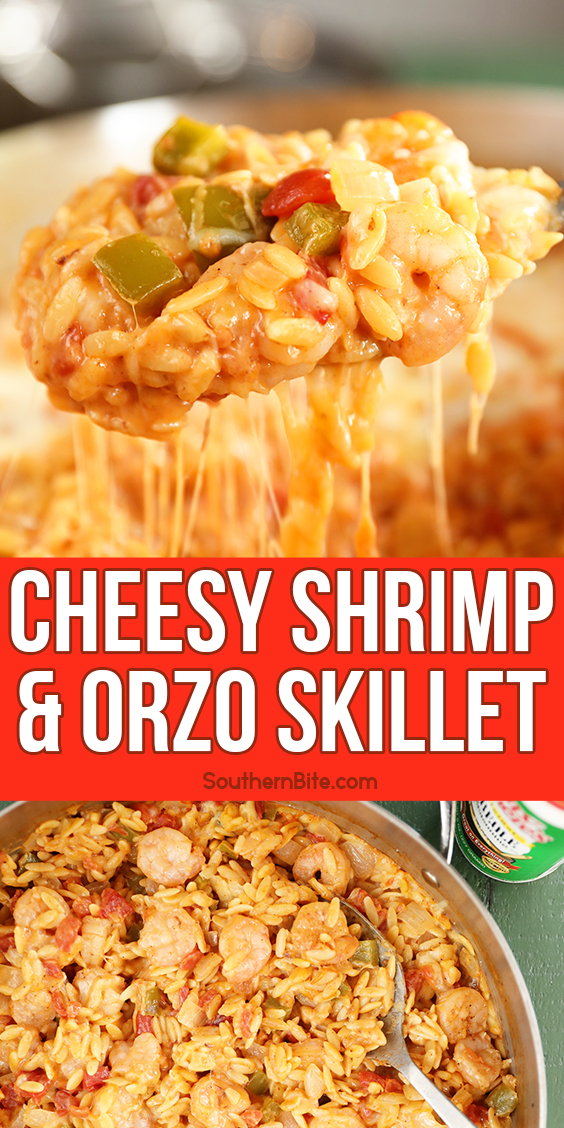 Spoonful of Cheesy Shrimp and Orzo Skillet with cheese pull - images for Pinterest