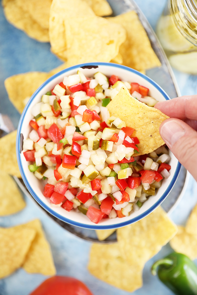 Scoop of Pickle de Gallo with chip