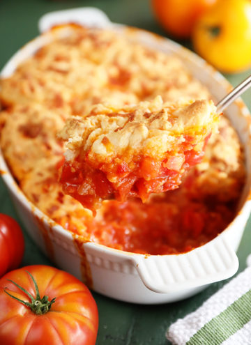 Tomato Cobbler with Pimento Cheese Biscuits