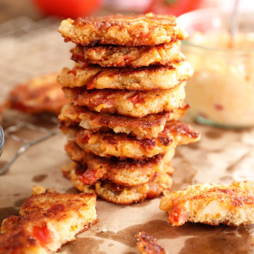 Stack of Tomato and Pimento Cheese Fritters