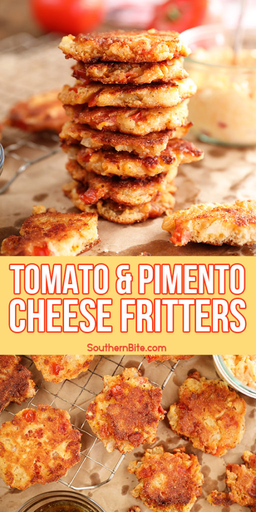 Tomato and Pimento Cheese Fritters - image for Pinterest