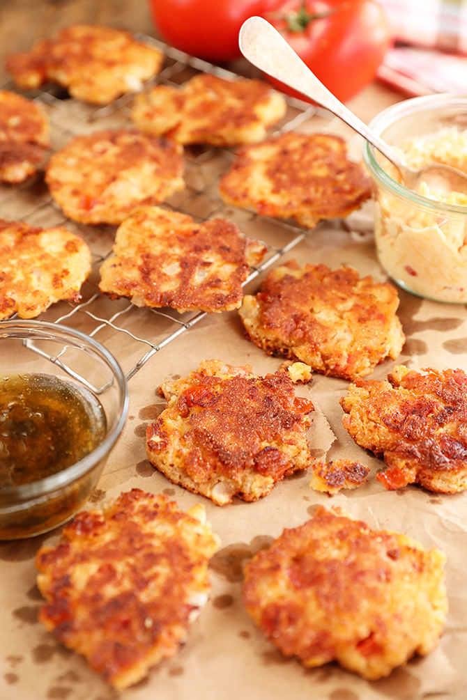 Tomato and Pimento Cheese Fritters on brown paper