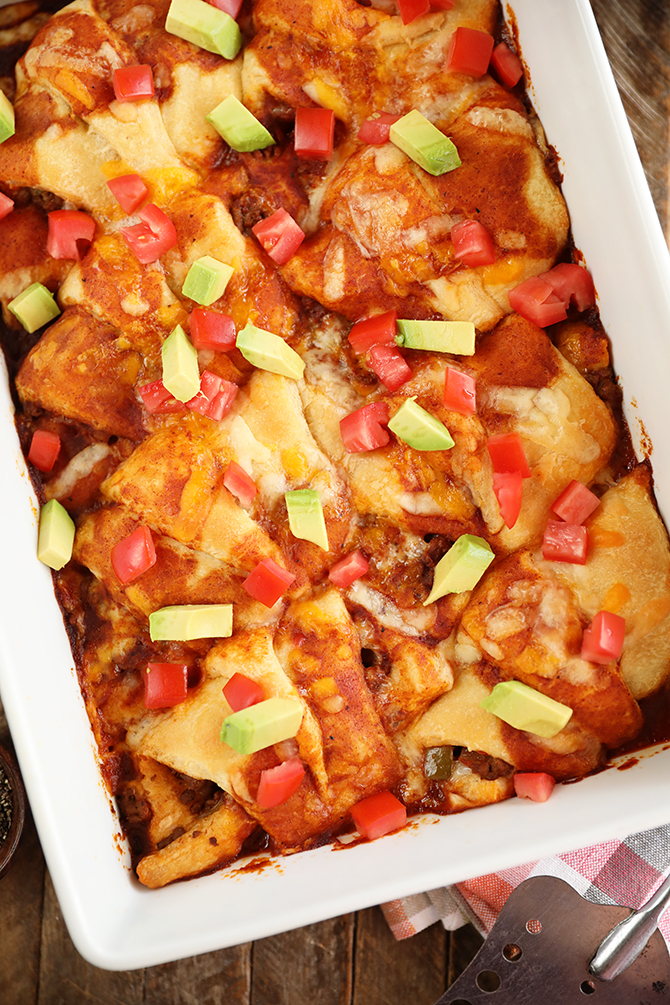 Enchilada Crescent Roll-Ups in a baking dish