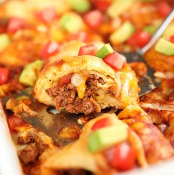 Beef Enchilada Crescent Roll-Ups