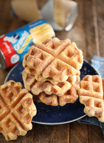 Cinnamon Sugar Biscuit Waffles on a blue plate